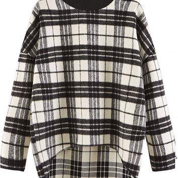 Plaid Long Back Sweater
