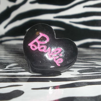 Adorable Black and Pink Heart Shaped Barbie Ring