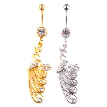 New Charming Dangle Crystal Navel Belly Ring Bling Barbell Button Ring Piercing Body Jewelry = 4804910660