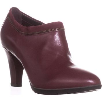 Anne Klein Dalayne Zipper Lined Ankle Booties, Wine, 9 US