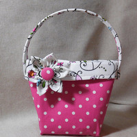 Little Girls' Adorable Polka Dot Purse With Detachable Fabric Flower Pin