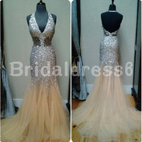 Sequins Lace Halter V-neck See-through Waist backless Mermaid long Celebrity dress ,Court train Tulle Evening Party Prom Homecoming Dress