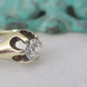 Take 10% off w/ shop coupon code Antique Old Mine Cut Diamond Solitaire Engagement Promise Ring Belcher Setting Claw Setting 14k Solid Gold