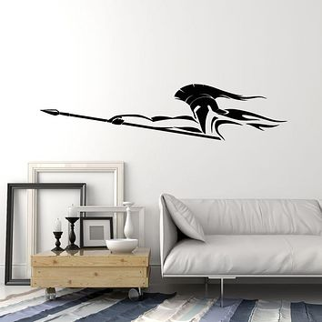 Vinyl Wall Decal Warrior With A Spear Spartan Man In Helmet Stickers (4049ig)