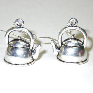 Earrings with teapots Antique silver coloured by smilingbluedog
