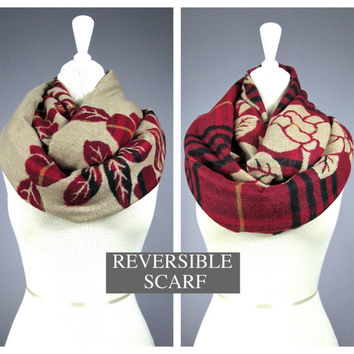 Christmas scarf, chunky scarf, reversible scarf, plaid scarf, Camel scarf, Beige scarf, Red scarf, infinity scarf