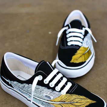 Custom Vans Era - Hand Painted Eagle Feather