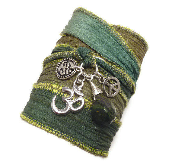 Silk Wrap Bracelet with Om charms Peace Sign, and Jade by charmeddesign1012