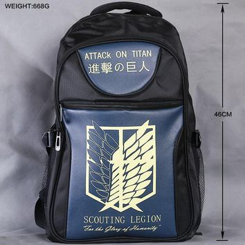 Cool Attack on Titan Lot Anime Bag High-quality  Backpack School Laptop Bag Large capacity Black Double-Shoulder Travel Bag Outdoorbag AT_90_11