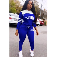 THE NORTH FACE Women Fashion Long Sleeve Top Pants Set Two-Piece Blue
