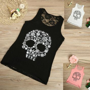 Fashion  Women Lace Sexy Bustier Crop Top Skull Print Lace Back Summer  Casual Tank Top Coletes Feminino g#1