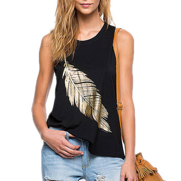 New Fashion Women's Sleeveless Casual Tank Top Black Solid Feather Printing Loose Vest S-XL