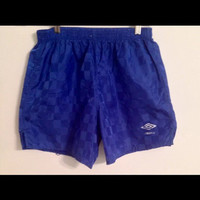 Umbro Nylon Diamond Blue Soccer Vintage VTG Athletic Shorts Lightweight