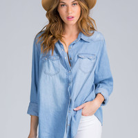 Oh Snap Pearl Button Chambray Shirt