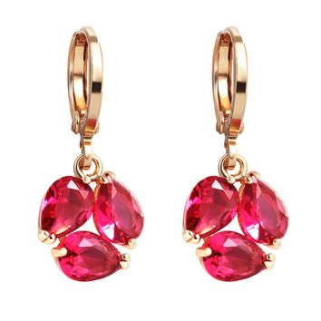 Magical Triple Lucky Teardrop Shape Royal Red Crystals Gold-Tone Lucky Charms Amulet Earrings