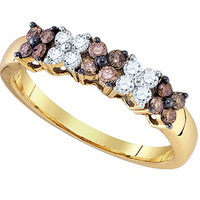 Cognac Diamond Fashion Ring in 10k Gold 0.51 ctw