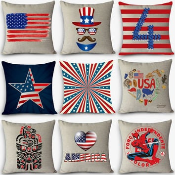 linen throw pillow Nordic Vintage AMERICA USA outdoor chair home decor pillow