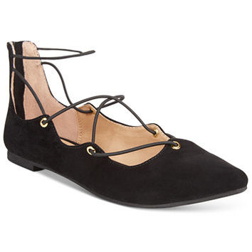 Material Girl Ibby Lace-Up Flats, Only at Macy's | macys.com