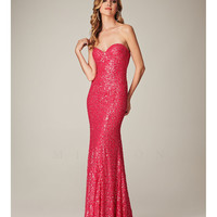 (PRE-ORDER) Mignon Spring 2014 - Hot Pink Strapless Sweetheart Sequin Prom Dress