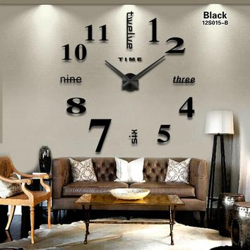 hot sale 3d wall clock large size fashion home living room bedroom dining room decoration acrylic mirror wall clock