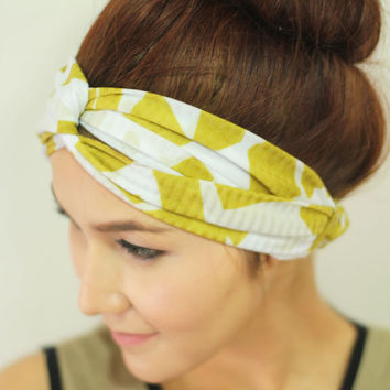 Citrine Yellow Graphic Print Knot Turban Headband Wide Hair band stretch Headwrap