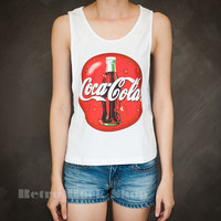 Coca Cola Coke Red Logo Sexy Sideboob Tank Top Low Cut Cropped Shirt Choice of Size S M L
