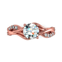 rose gold engagement rings,anniversary ring, style 123RGDM