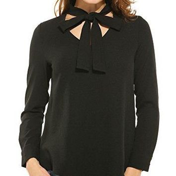 Zeagoo Womens Long Sleeve Button Down Lace Shirt Bow Knot Collar Blouse See Through Tops