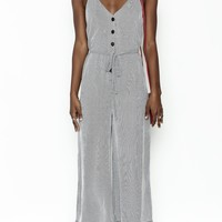 Stripe Button Jumpsuit