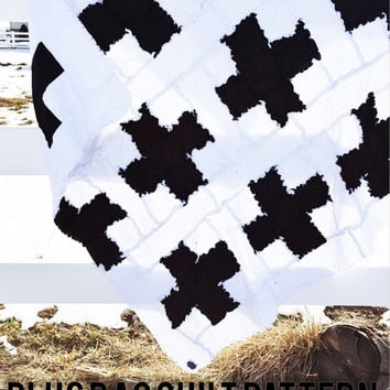 PATTERN Rag Quilt, Plus Sign Baby Blanket, SEWING Instructions, Instant Download PDF