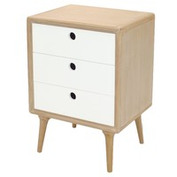 Madden End Table / Nightstand 3 Drawers - White/Natural