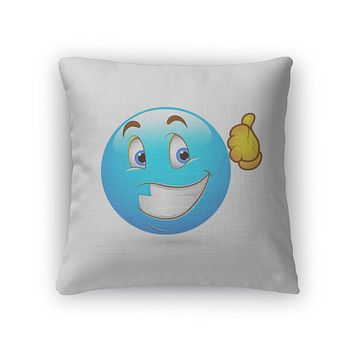 Throw Pillow, Smiley Emoticons Face Thumbs Up