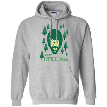Bob Ross Happy Little Trees Men's T-Shirt ForestGreen Mens-01  Pullover Hoodie 8 oz