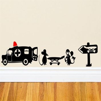 New Design Creative Black Mouse Patient home decal wall sticker little rats mouse ambulance funny kids gifts ZY399