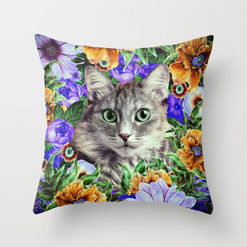 Cat in Flowers. Spring Throw Pillow by Oksana