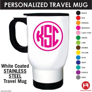 Monogram Travel Coffee Mug - Personalized Stainless Steel Travel Coffee Mug -Monogrammed Mug