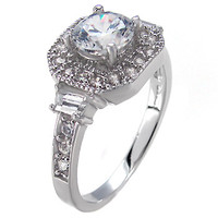 Sterling Silver 0.80 carat Round Cut CZ Vintage Style Pave Set Halo Engagement Ring size 5-9