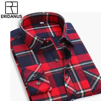 Flannel Men Plaid Shirts New Autumn Slim Long Sleeve Formal Business Fashion Dress Warm Casual Shirts