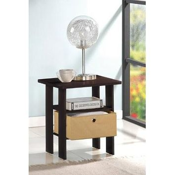 Espresso End Table Nightstand for Bedroom or Living Room