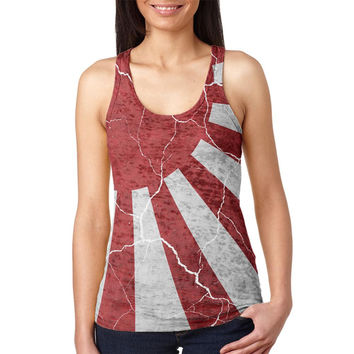 Distressed Japanese Flag Rising Sun Vintage Juniors Burnout Racerback Tank Top