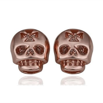 18K Rose Gold Skull Shaped Stud Earrings Made with Swarovksi Elements