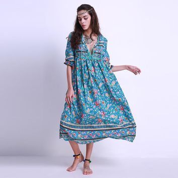 Plus Size 5XL Women Boho Chiffon Maxi Long Dress Vintage Long Sleeve Tie V Neck Loose Casual Beach Dresses Lady Floral Sundress