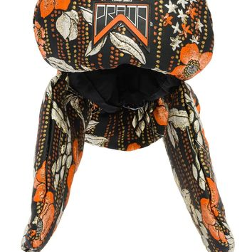 Orange and Black Silk Blend Cloqué Hat by Prada