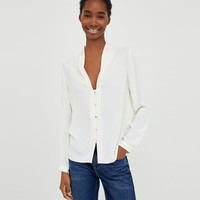 BLOUSE WITH PLEATED NECKLINE