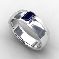 Blue sapphire ring, white gol, mens wedding band, blue sapphire wedding, men sapphire ring, emerald cut sapphire, gold wedding band, unique