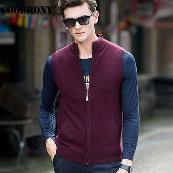 Merino Wool Vest Coat Men Turtleneck Sleeveless Cardigan Men Winter Thick Warm Cashmere Sweater Men Clothing