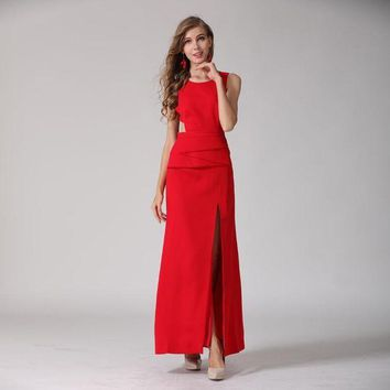 ONETOW RED ROOSAROSEE 2018 High Quality European Women New Sleeveless Sexy Backless Placket O-neck Collar Floor Length Maxi Red Dress