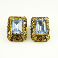 Art Deco Earrings Sterling Vermeil AMEF 835 European Blue Topaz Glass Antique Jewelry