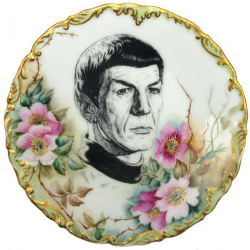 Spock Portrait Plate - Altered hand painted Plate 6""