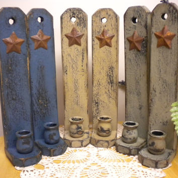 Candle Sconce Pair with Rusty Star, Colonial Candle Sconce, Primitive Sconce Set, Wall Sconce Light - Made to Order